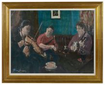 John Connery (Irish b. 1956) 'The Galway Session', depicting musicians playing instruments in a