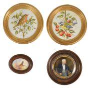 A selection of painted porcelain plaques comprising of two Bryan Cox painted porcelain plaques,