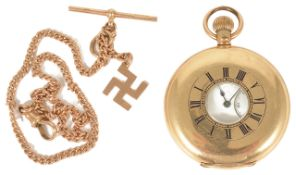 A Waltham 14ct gold plated half hunter pocket watch the white dial with Roman numeral hours, baton