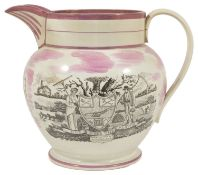 Masonic interest: A Sunderland pink lustreware jug, early 19th century, of Masonic interest, with