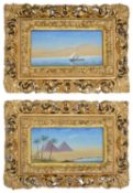 Two colourful 20th century watercolours, depicting the pyramids with palm trees and figures near
