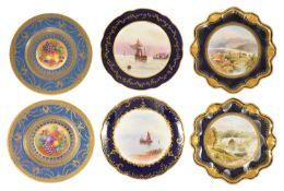 A selection of painted plates, late 19th/early 20th century comprising of a pair of porcelain plates