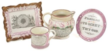 A selection of Sunderland pink lustreware, mid 19th century comprising of a jug 'Sailors' Farewell',