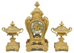 A French gilt bronze clock garniture circa 1870 the movement stamped Japy Freres, with twelve