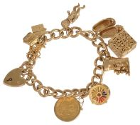 A 9ct gold curb link charm bracelet each link marked and with a 1913 half sovereign pendant and