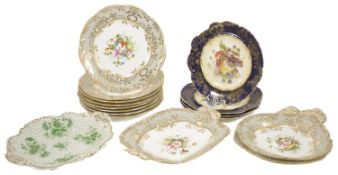 A Staffordshire porcelain floral painted dessert service, late 19th century comprising of eight