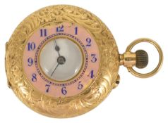 A Ladies 18ct gold half hunter pocket watch the outer leaf engraved case with pink enamel chapter
