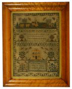 A Victorian sampler in a maple frameby Emily Eliza Morgan Aged 12 dated 1851