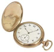 A gold plated Elgin full hunter pocket watch,the white dial with arabic hours, baton minutes and