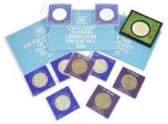 A selection of coinage3 x Mauritius Queen Elizabeth II 1952-1977 25 Rupees silver proof crowns, 3