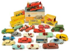 A collection of Dinky carscomprising a boxed 561 Blaw Knox Bulldozer, boxed Citroen DS 19, boxed