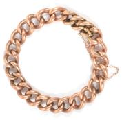 An Edwardian 9ct rose gold hollow curb link braceletof large link form, having 'invisible' push