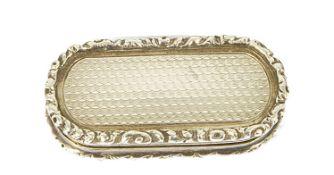 A late Georgian silver gilt vinaigrette, Birmingham,of oval form with engine turned decorative