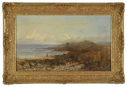 Rosa Muller (German), 19th century a coastal scene with figures on the beach, signed Rosa Muller