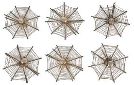 A set of six Chinese export white metal spider web menu holderseach of the wire framed holders in
