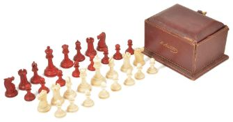 A good Victorian Jaques Staunton ivory chess set in leather covered casecomplete with a total of