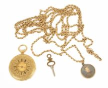 A ladies 18k gold Badollet a Geneve half hunter pocket watch with 10k gold longuard the gilt dial