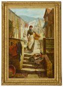 C.E Gordon Stuart (British active 1882 - 1896)'Hanging out the washing', a street scene depicting
