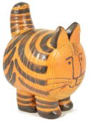 A Lisa Larson for Gustavberg pottery cat, 20th centurymodelled as a cat with a brown stripped body
