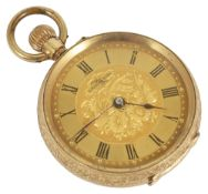 A 14k L'Excel Sior gold ladies open faced pocket watch,with black painted roman hours and dot