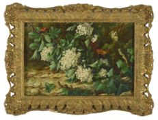 Ralph J Mackay (British) forest foliage still life, with ivy and butterflies, signed Ralph J Mackay