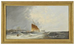 William Henry Williamson (British 1820 - 1883)sailing boats going out to sea, leaving a beach hut