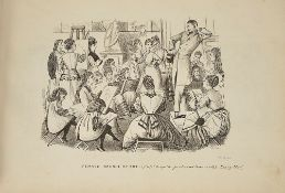An amateur artists sketchbook of copies of 19th century comical illustrations comprising copies of