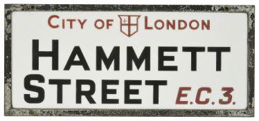 A City of London vitrolite opal glass street sign from Hammett Street E.C.3, circa 1936Hammett