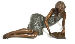 Jonathan Wylder (British b.1957) 'Girl Reading' large patinated bronze figure of a female r