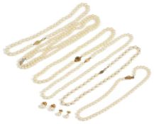 A collection of six cultured pearl necklaces and earringsto include an opera length string with
