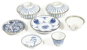 A small collection of 19th century bleu de Hue Chinese porcelaincomprising a pair of blue and