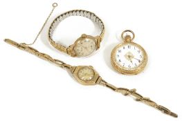 A ladies 18k gold open faced pocket watch, the white enamel dial with arabic numerals and gilt