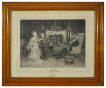Delapoer Downing (1853 - 1926)'Dinner Party' etching of a couple dining with their host asleep,