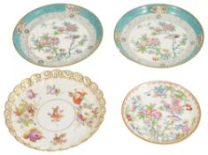 A pair of Minton porcelain saucers and a Dresden porcelain saucer,the pair of Minton saucers with