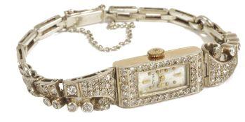 A Moviga ladies diamond set cocktail wristwatch, circa 1930'swith rectangular silvered dial, the