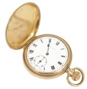 The Angus gold plated full hunter pocket watchwith white enamel dial and black roman numerals,