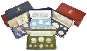 A collection of Franklin Mint coinagecomprising two sets of 1976 Republic of Malta proof set of nine