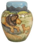 A contemporary Moorcroft Sian Leeper 'Pride of Lions' ginger jar, circa 1999the cover and baluster
