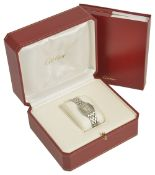 A Cartier Panthere stainless steel ladies wristwatch, the square white dial with roman numerals,