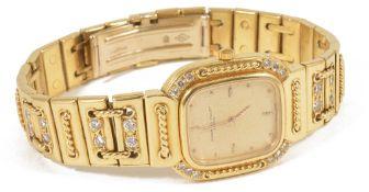 An 18ct gold Audemar Piguet ladies wristwatch, circa 1980'sthe gold coloured rectangular dial with