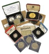 A selection of UK coinage2 x 1997 silver proof 50p coins, 1 x 1996 silver proof Piedfort œ1 coin,