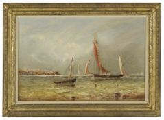John Tunstall Haverfield (British 1825 - 1885) boats sailing outside the harbour