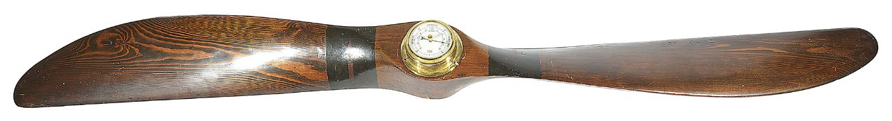 A painted pine twin blade propeller with central modern brass barometer, 20th century, (2)length: