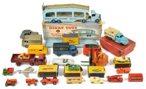 A selection of Dinky and Matchbox toys, comprising boxed Pullmore Car Transporter 582, Royal Mail