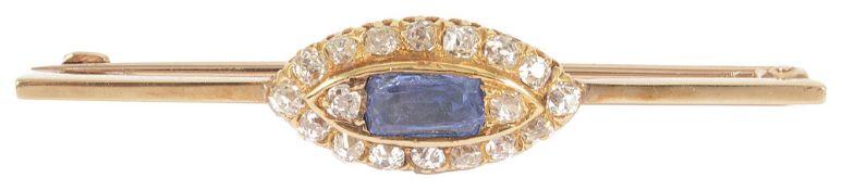 A Victorian sapphire and rose diamond marquis cluster bar broochhaving rectangular light blue