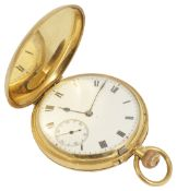 A 18ct gold full hunter pocket watch, Birmingham 1924the white enamel dial with roman numeral