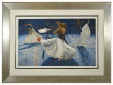 Robert Heindel (American 1938 - 2005)'Big Skirts' silkscreen print of ballet dancers, Limited