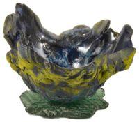 Amanda Brisbane (British b.1964) Majestic Skies art glass sand blasted yellow and amethyst blue