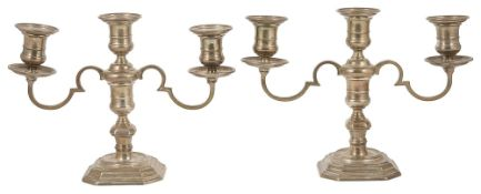 A pair of Elkington & Co. silver candlesticks, Birmingham 1967with three candle sconces with