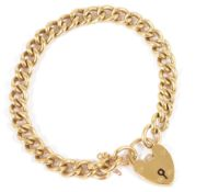 A 9ct gold curb link bracelet with heart padlock fasteningmarked 9 to each bracelet linkapprox.